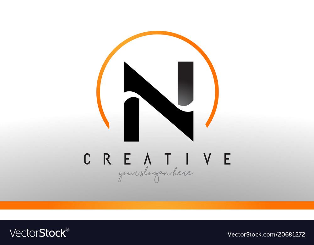 Cool Letter I Logo.N Letter Logo Design With Black Orange Color Cool