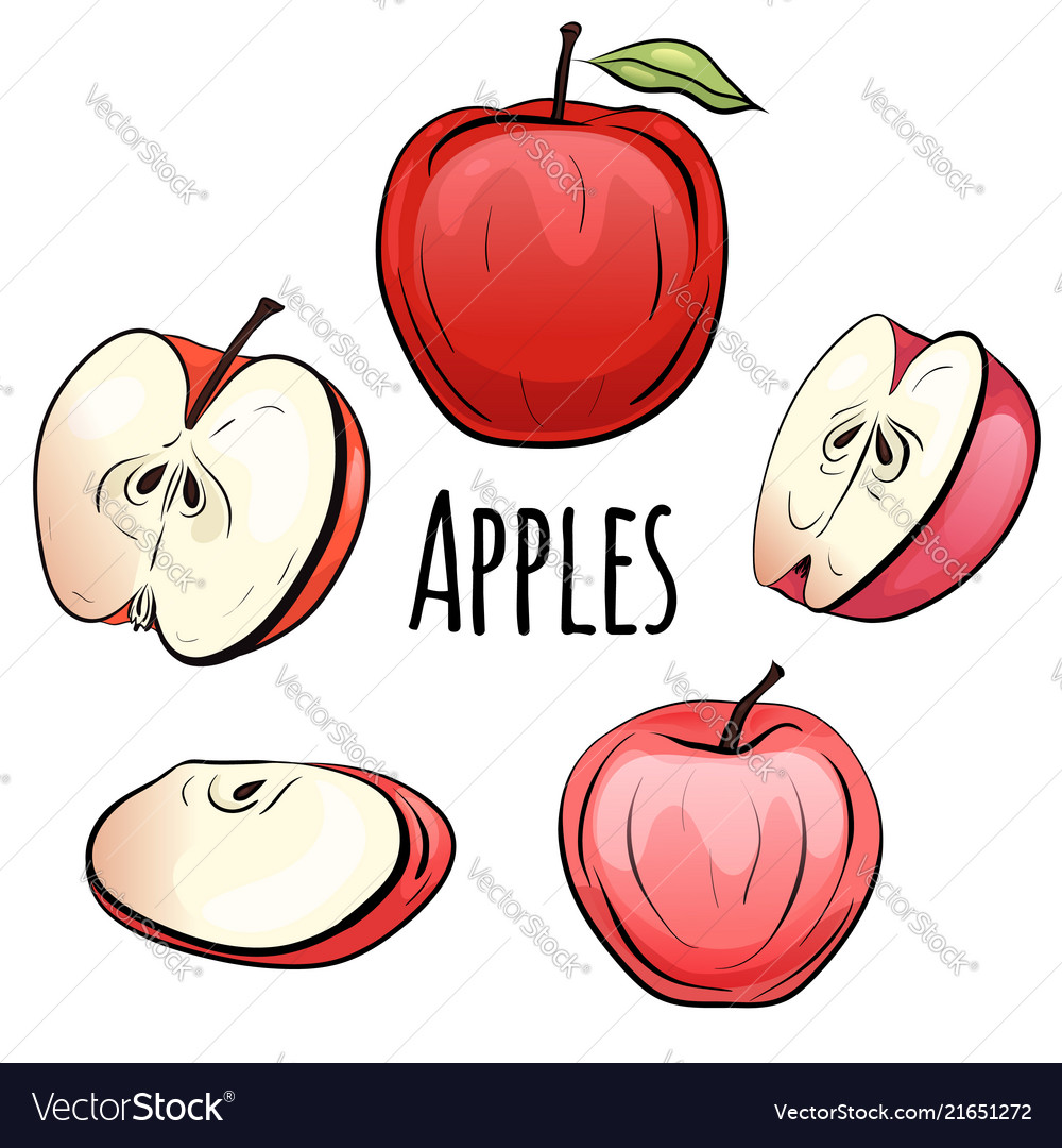 Set of cartoon red apples of different shapes on a