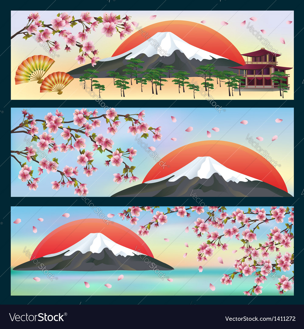 Set of horizontal banners japanese style vector image