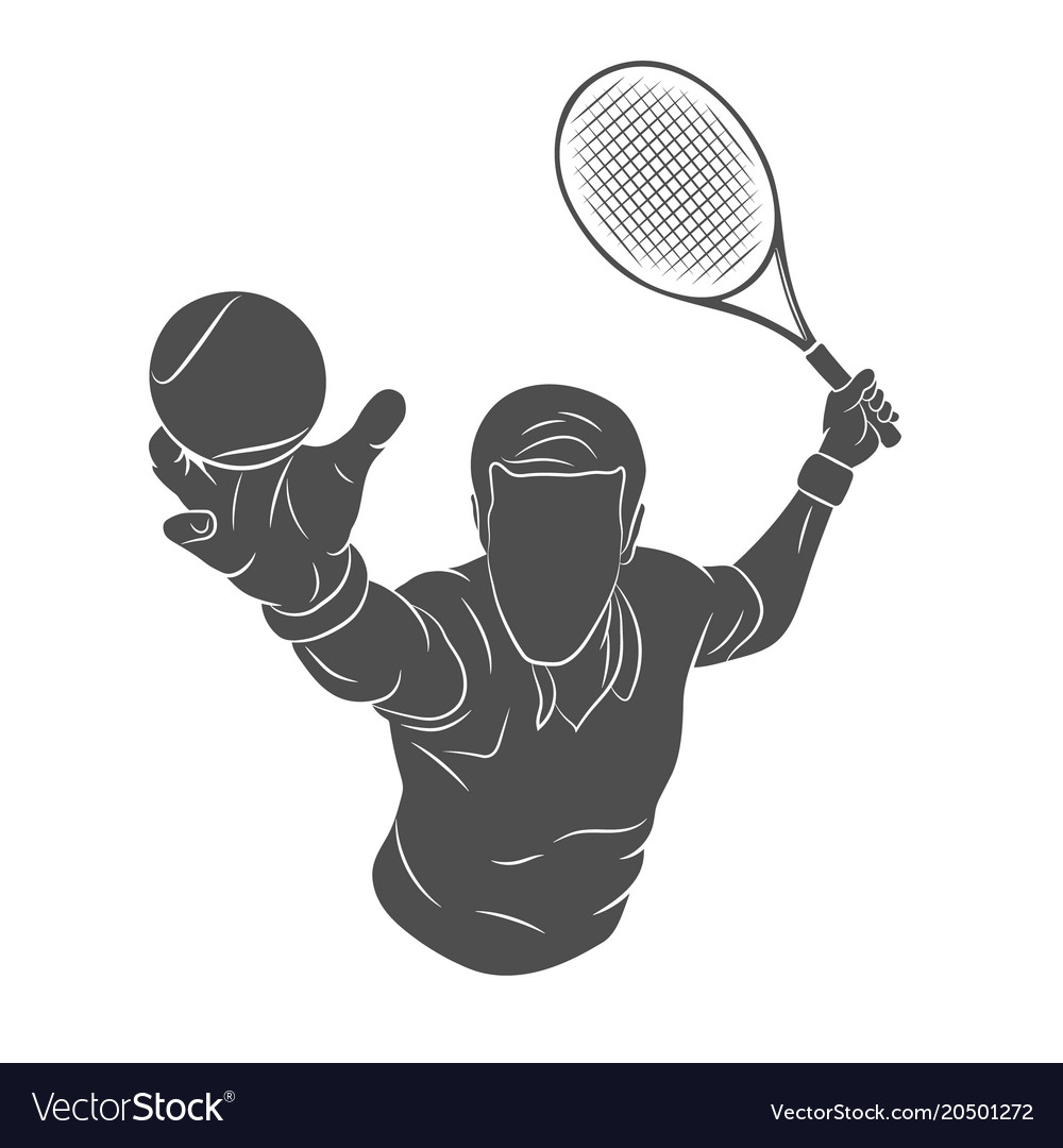 Tennis player silhouette vector image