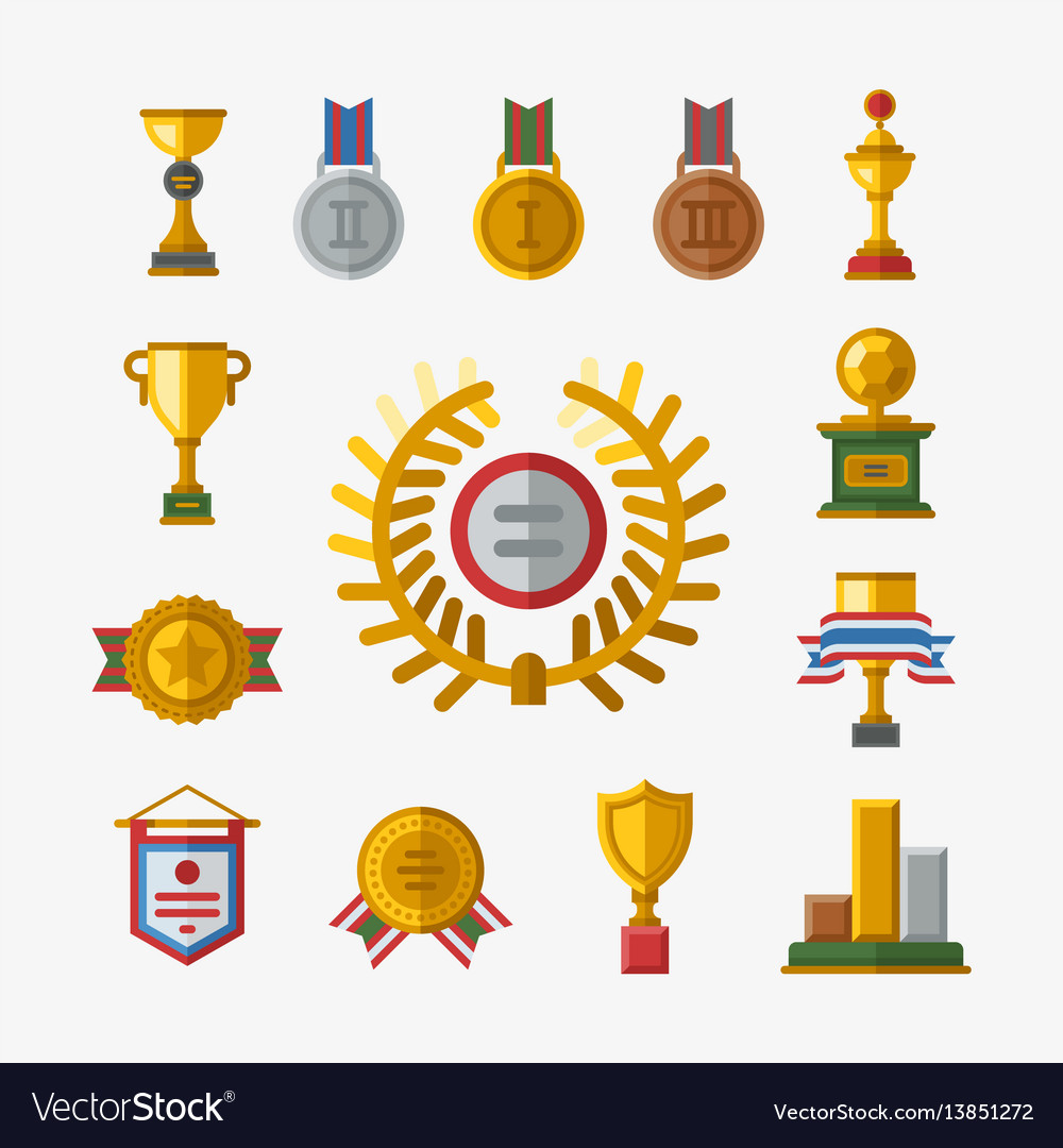 Trophy champion cup flat icon winner gold