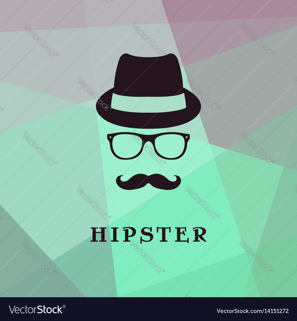 Vintage silhouette of bowler mustaches glasses
