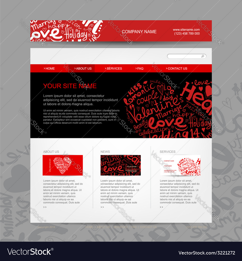 Website Design Template For Dating Site Royalty Free Vector