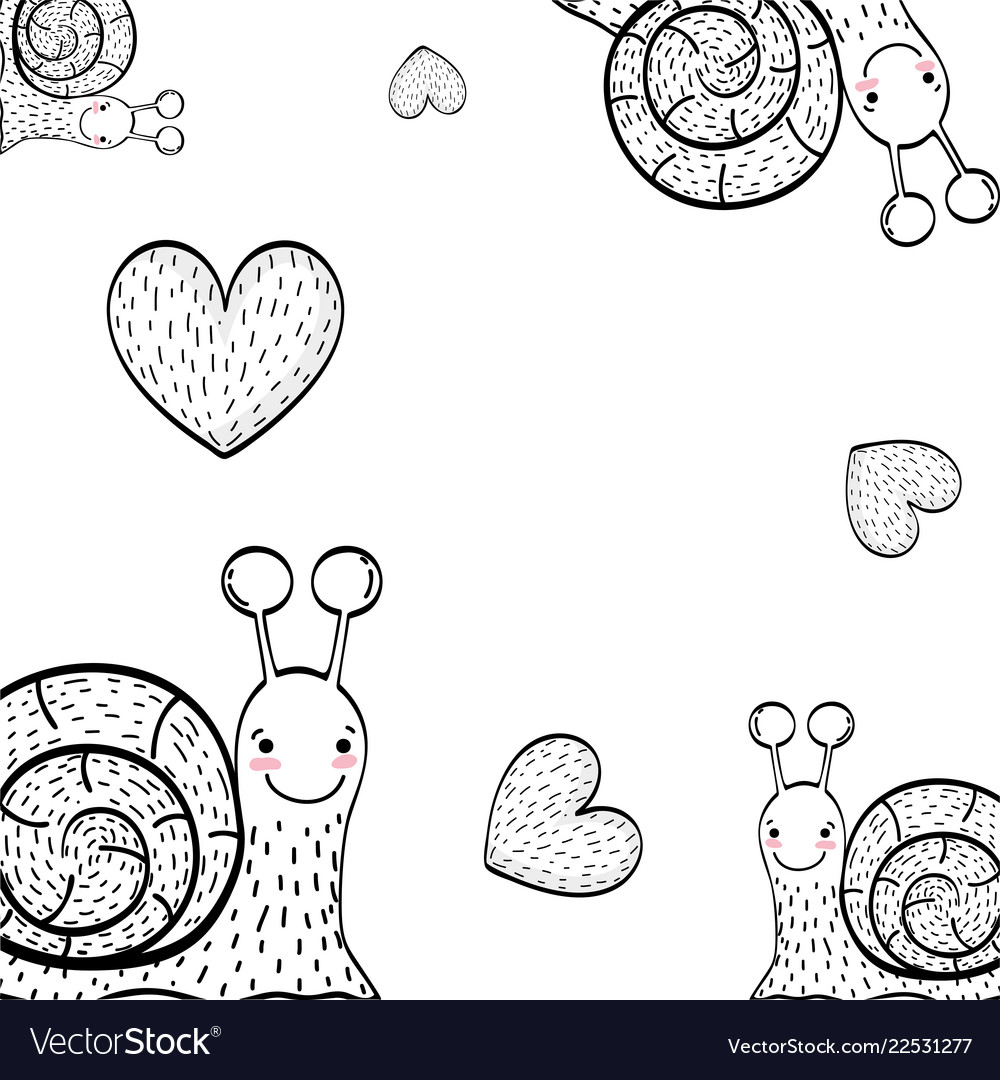 Charcoal and hearts drawings background vector image