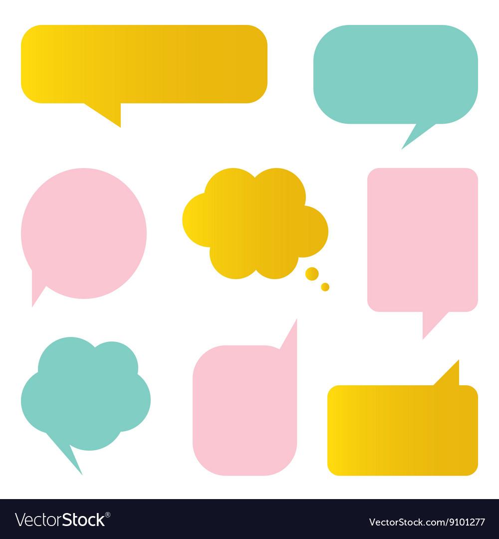 Cute colorful speech bubbles set