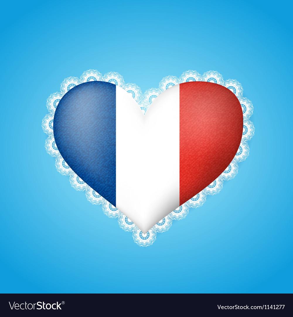 Heart shape flag of France vector image