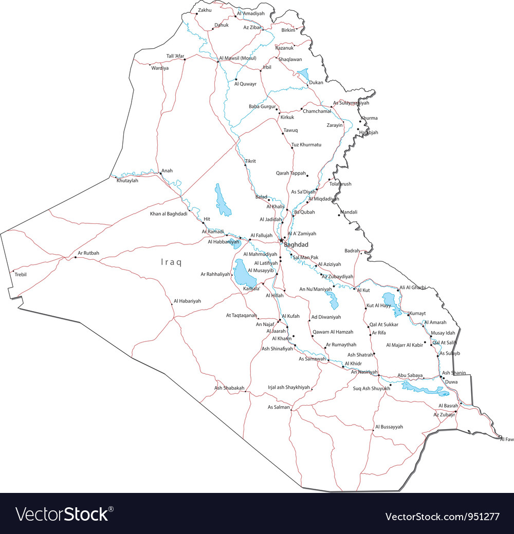 Iraq Black White Map Royalty Free Vector Image