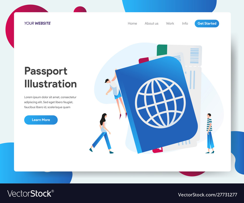 Landing page template with passport concept