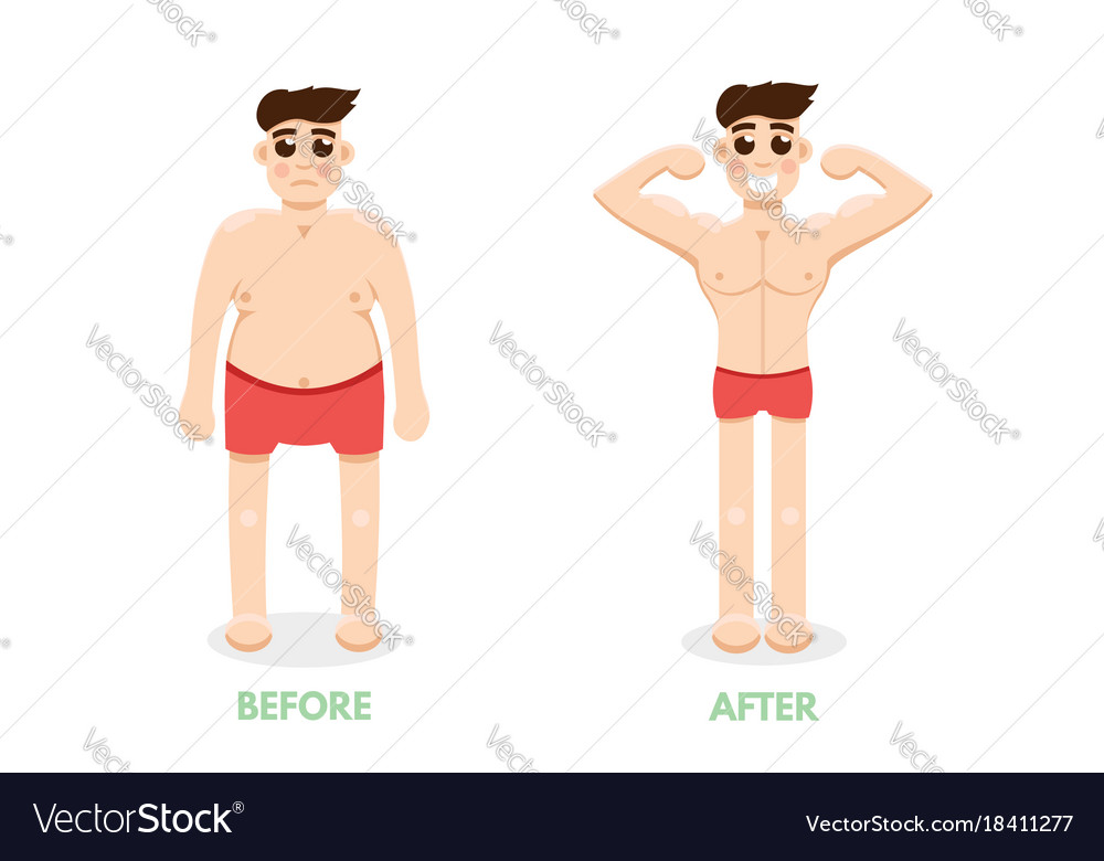 Man before and after fitness plastic surgery man