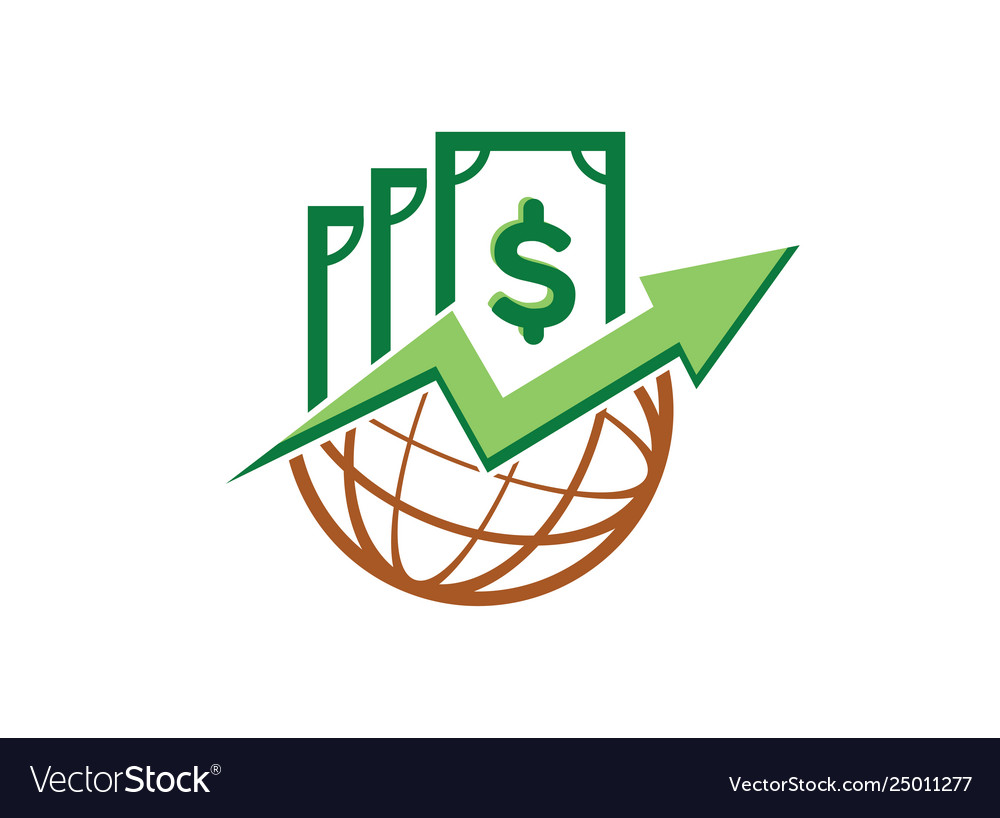 Money chart in globe icon for logo design