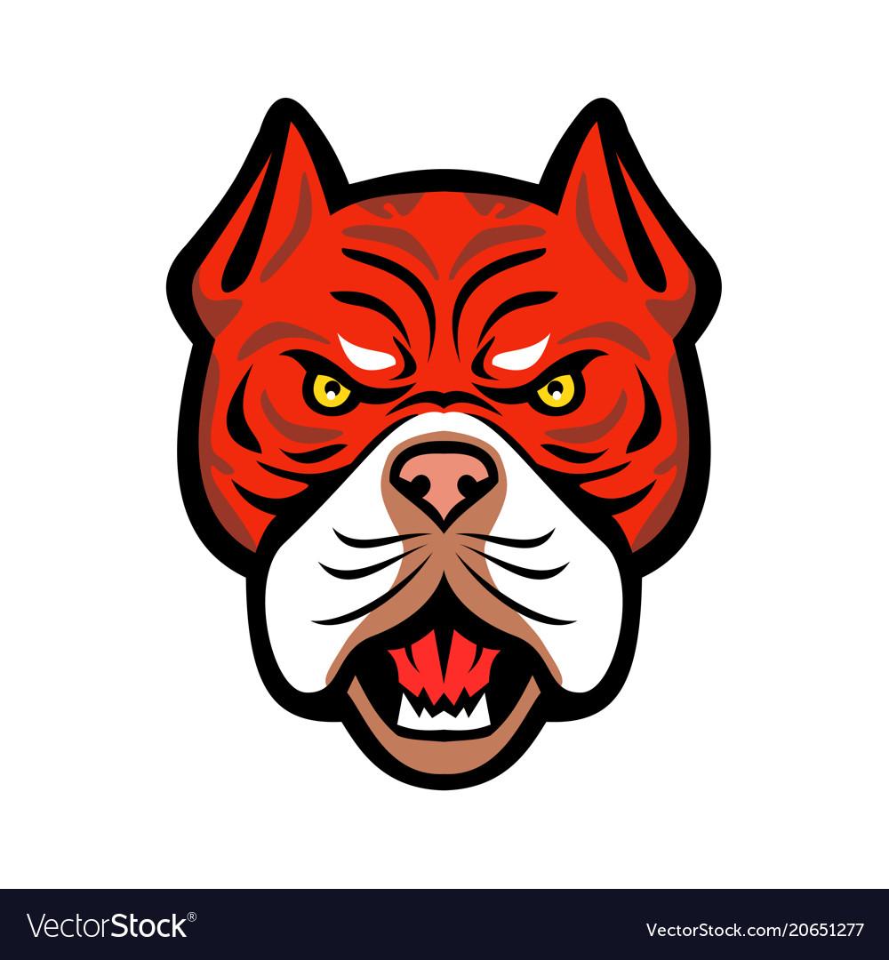 Red tiger bulldog head front mascot