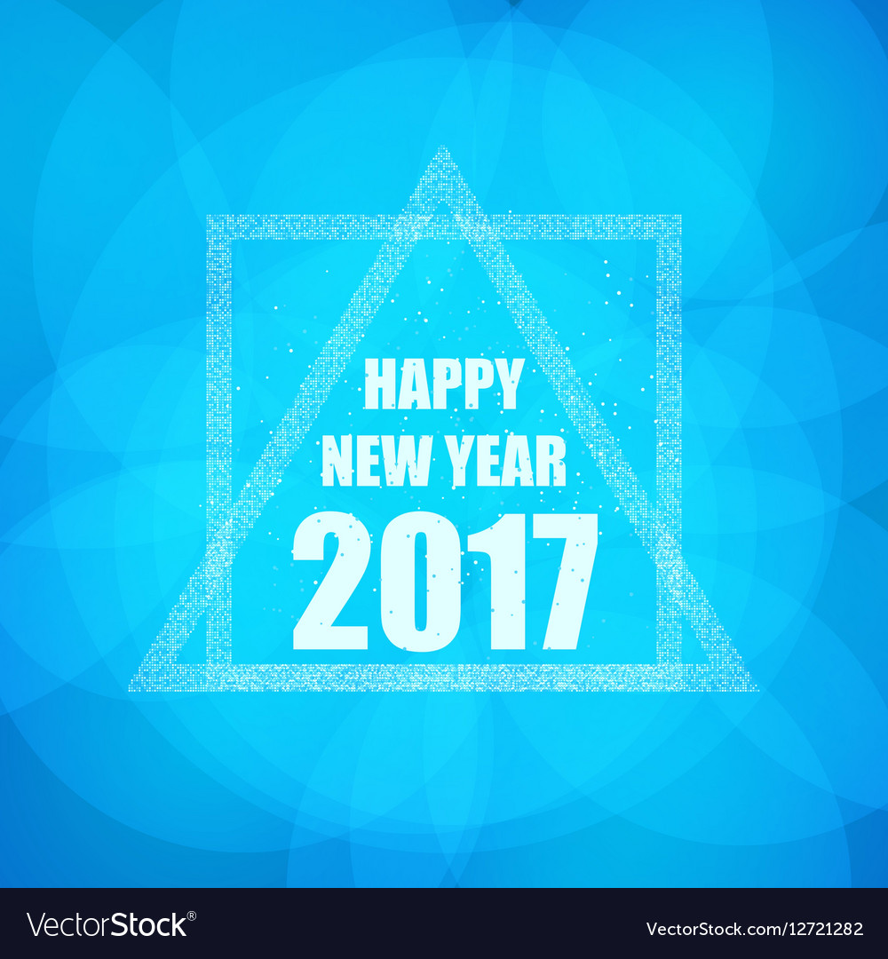 Beautiful greeting card with the new 2017 in blue