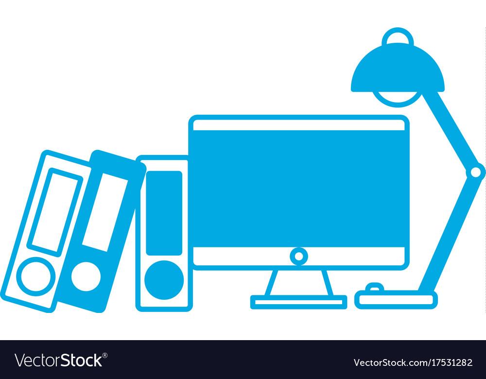 Computer and desk lamp icon