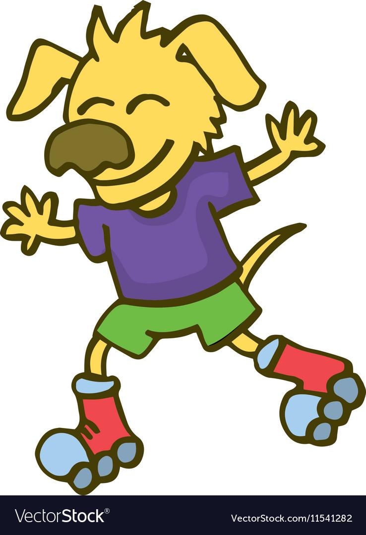 dog playing roller skates cartoon vector image
