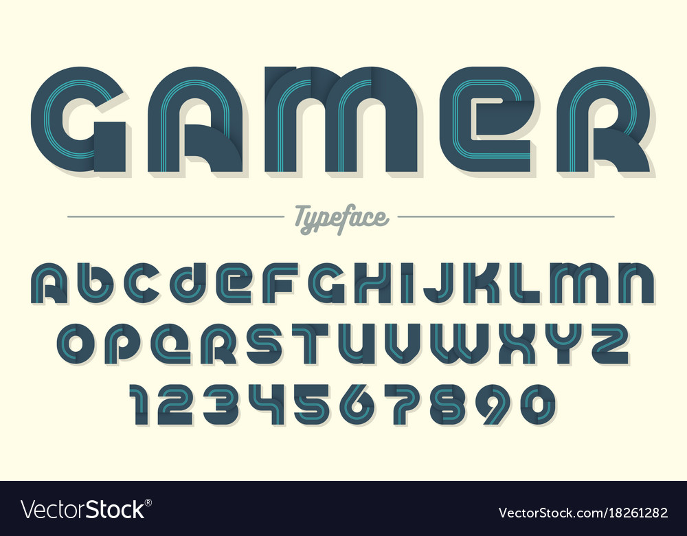 Gamer Decorative Font Design Alphabet Vector Image
