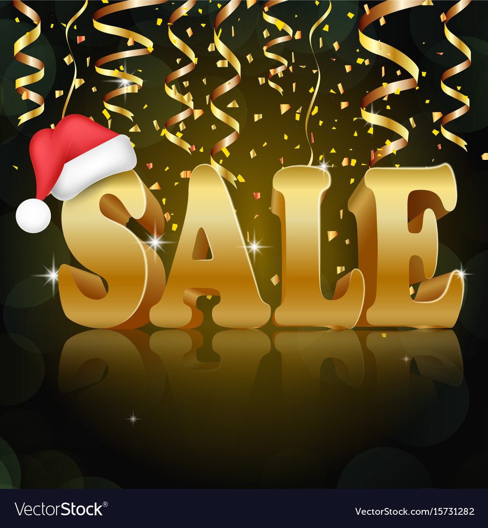 Golden sale on the black background