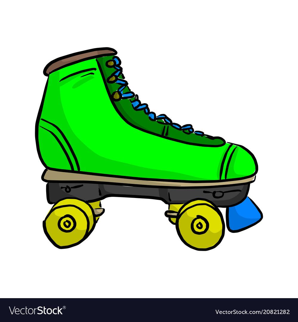 Green retro roller skate sketch