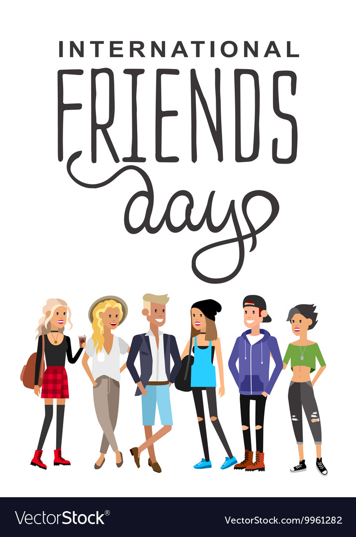 Group of happy friends vector image