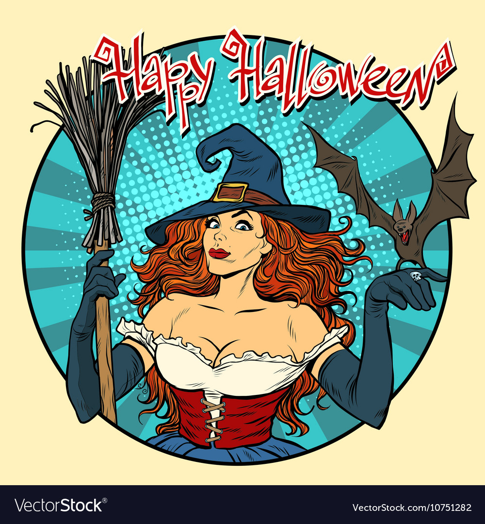 Happy Halloween beautiful witch and bat