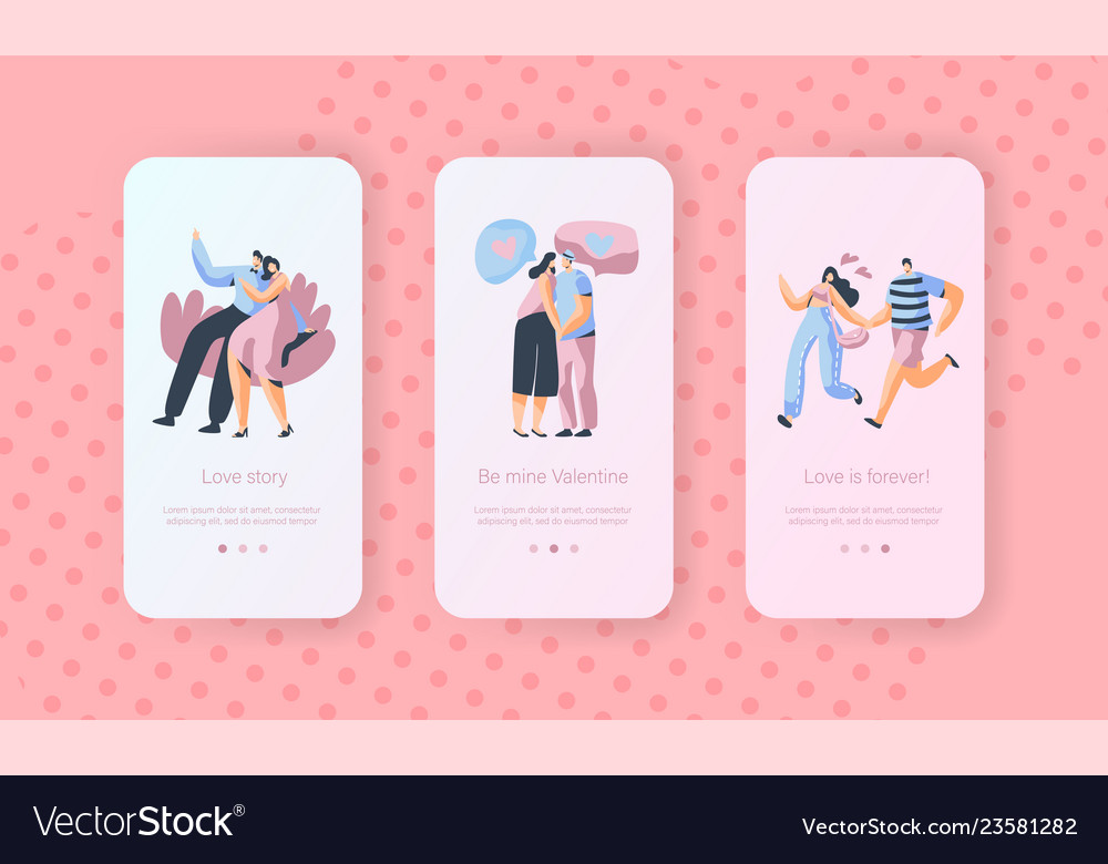 Love story couple character mobile app screen set