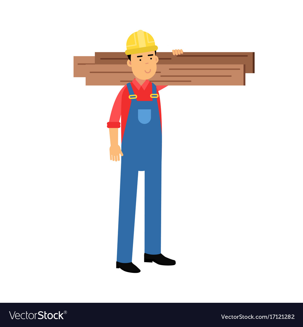 Male construction worker character carrying planks vector image