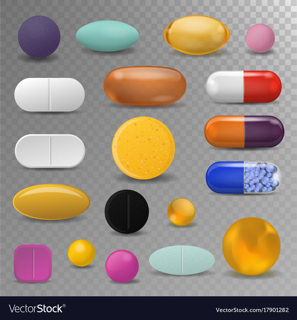 Realistic pills blister pack medical tabs vitamin