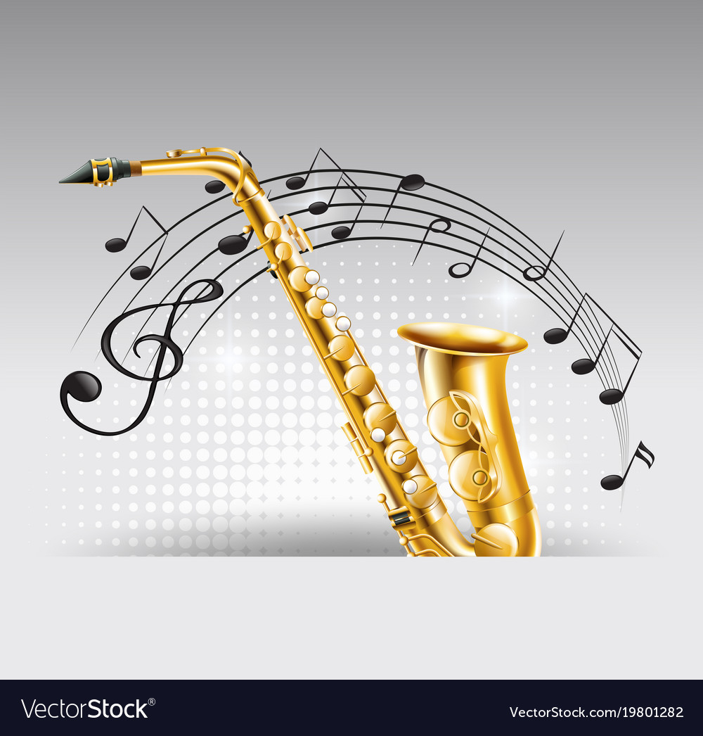 Saxophone with music notes in background