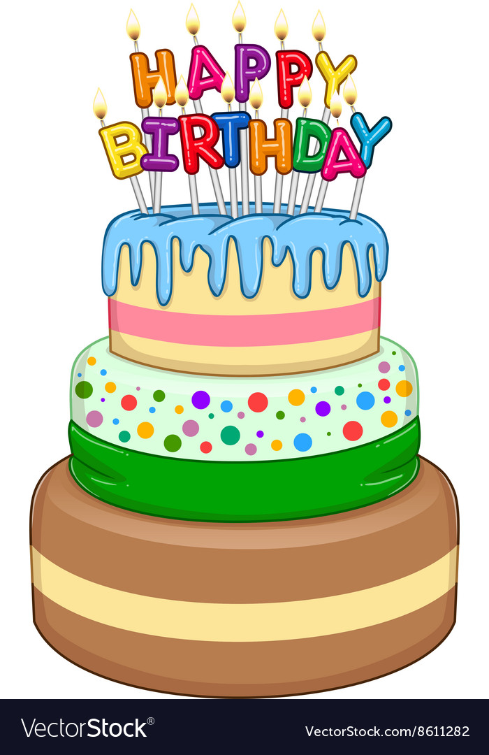 Three Floors Happy Birthday Cake With Candles Vector Image