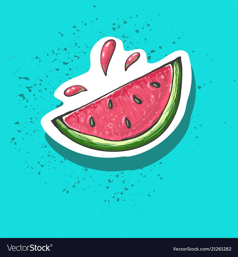 Watermelon cartoon sticker sweet fruit label