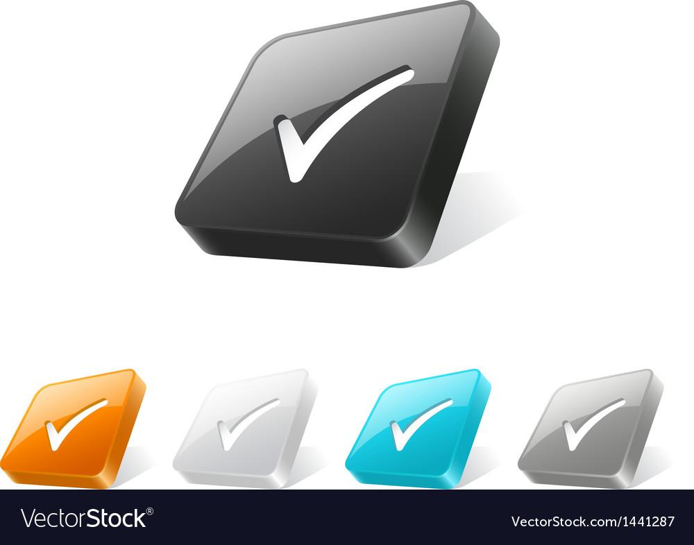 3d web button with check mark icon