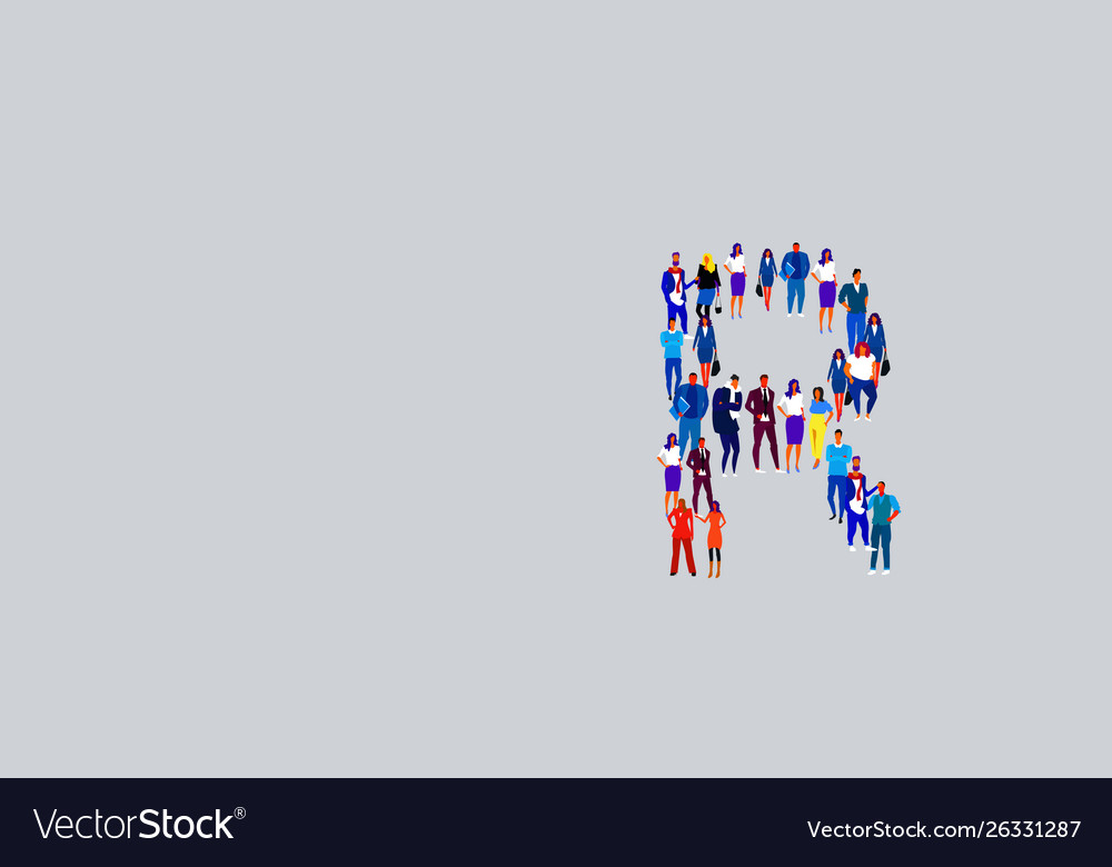 Business people crowd forming shape letter r