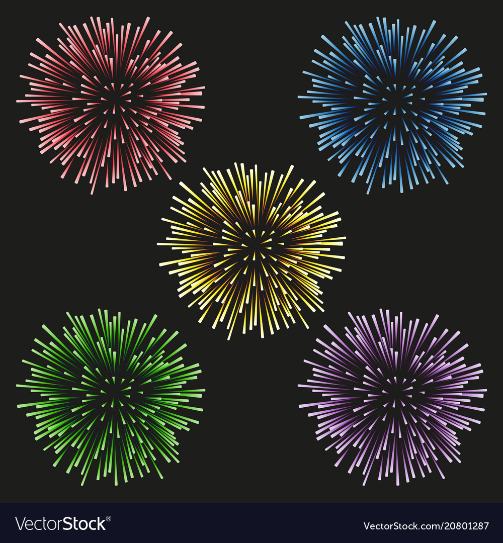 Fireworks set on a black background vector image