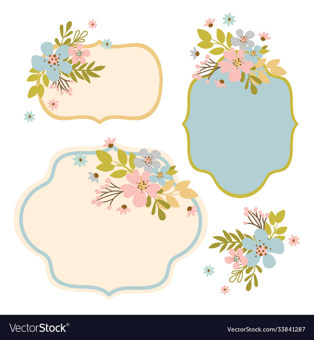 Flower frames hand drawn modern isolated template