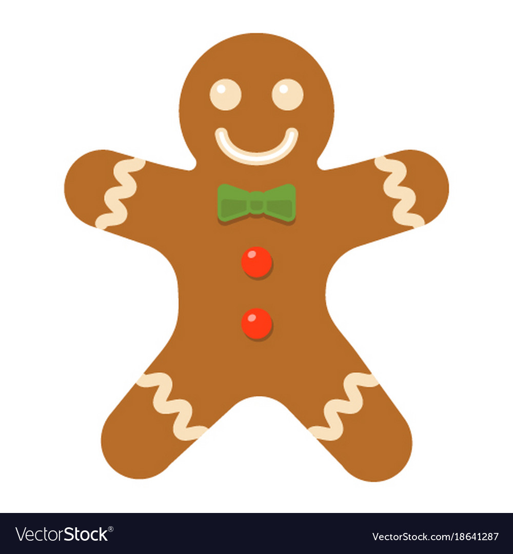 Gingerbread Man Flat Icon New Year And Christmas