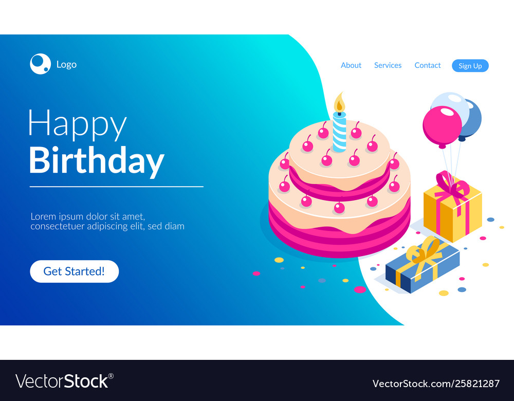 Happy birthday 3d concept cake with a