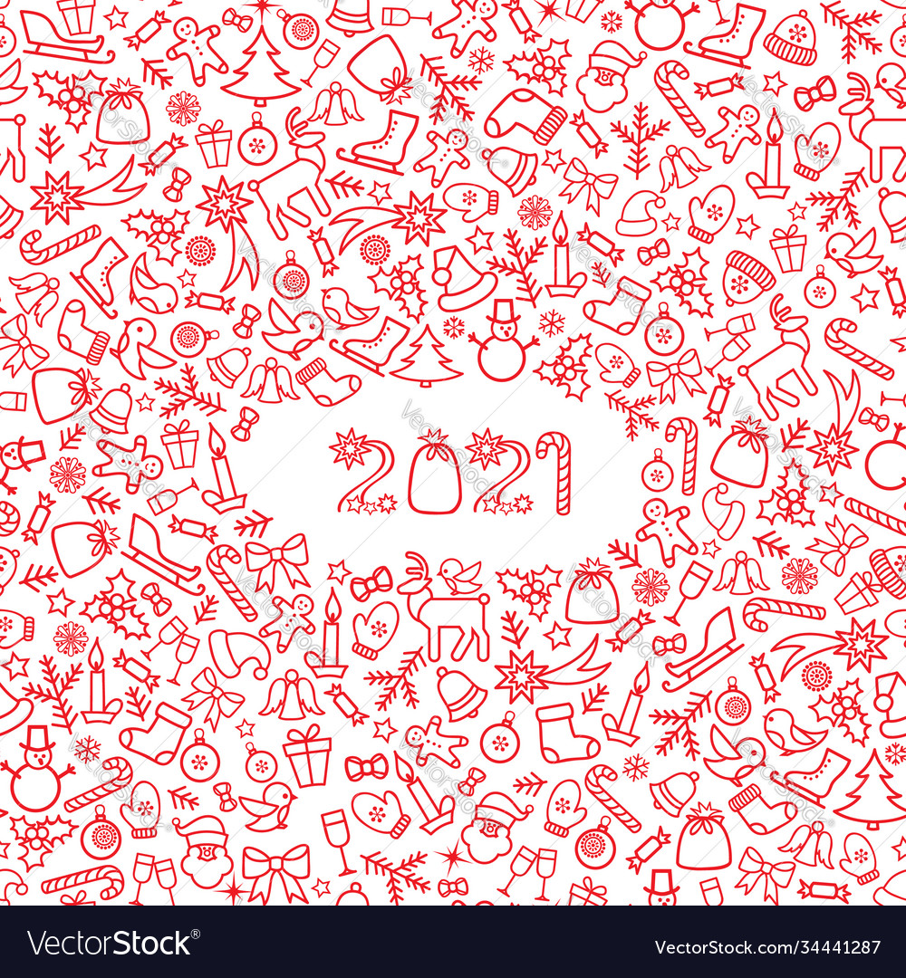 Happy new year 2021 snow winter holiday red
