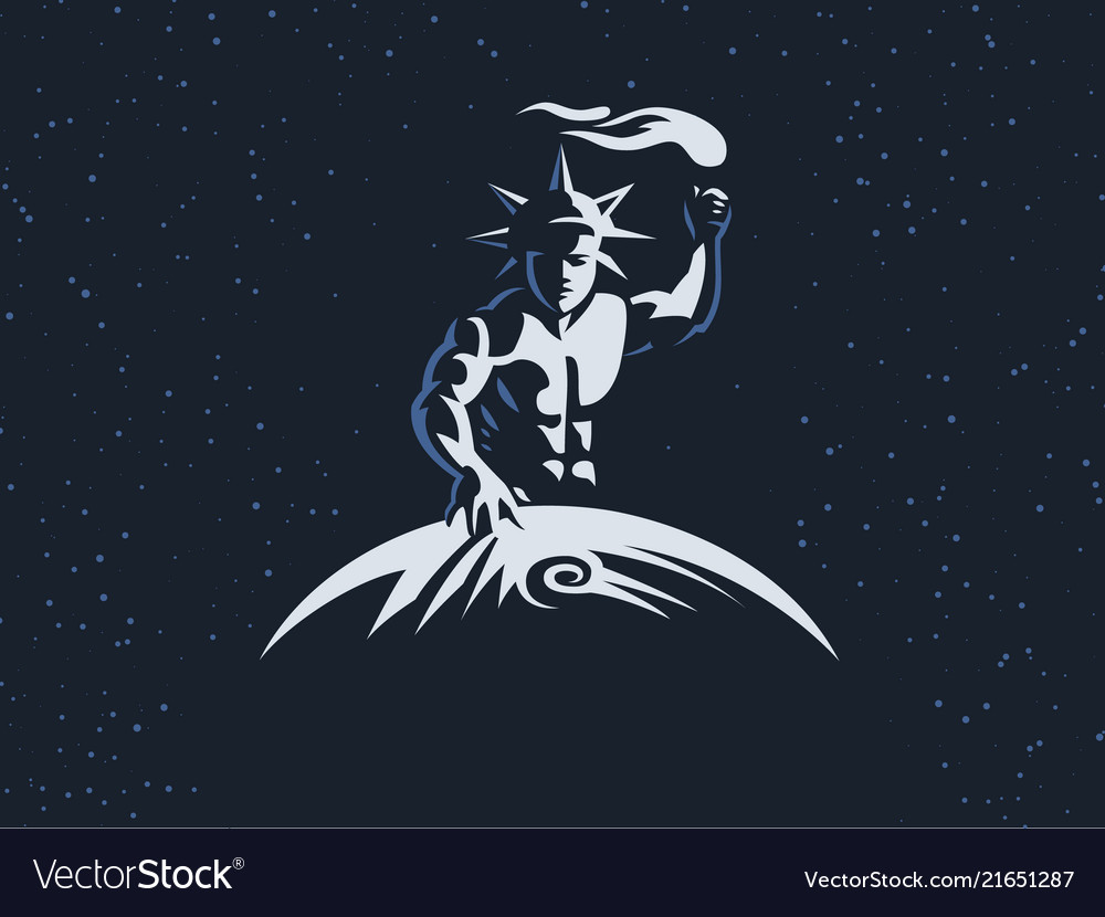 Helios The Sun God With A Torch Vector Image