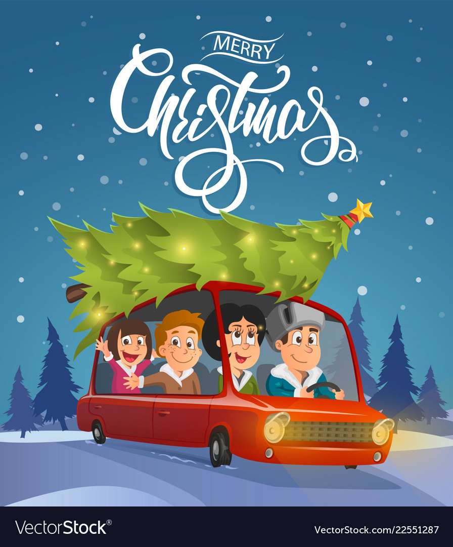 Merry Christmas Family.Merry Christmas Family Holidays On Car Vector Image