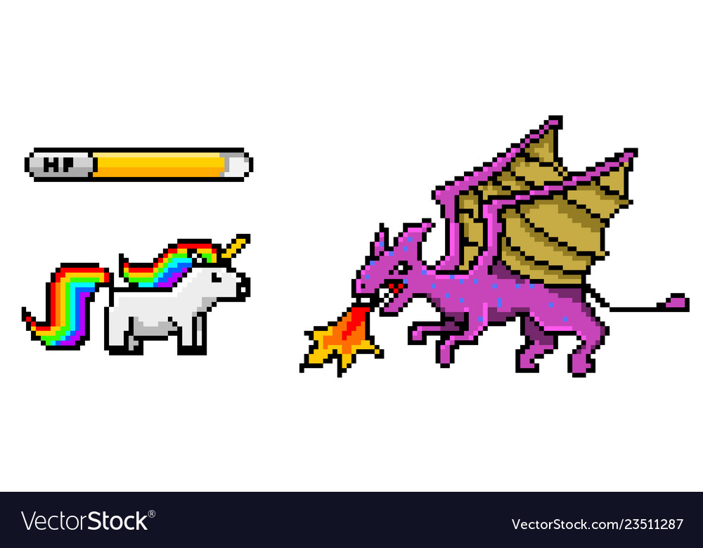 Pixel art 8 bit objects dinosaur pony rainbow