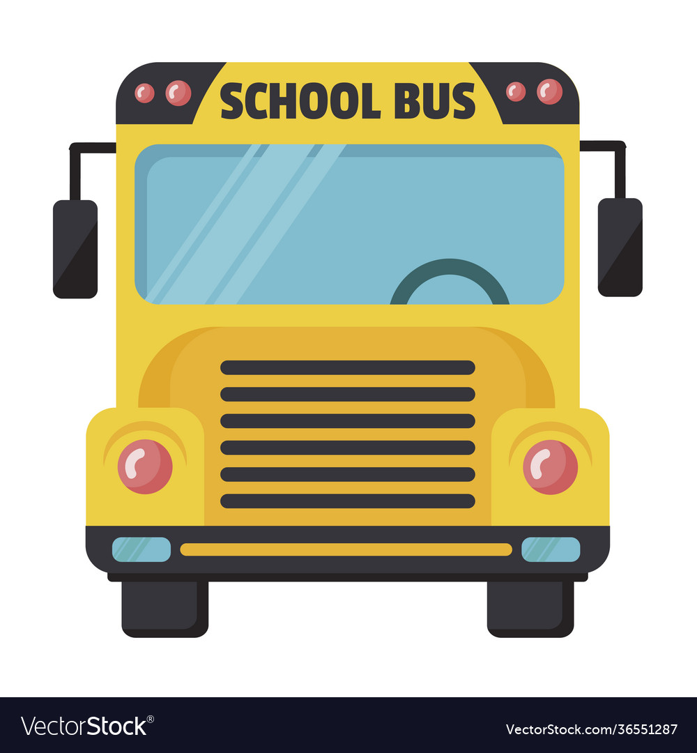 School bus icon yellow transport cabin for