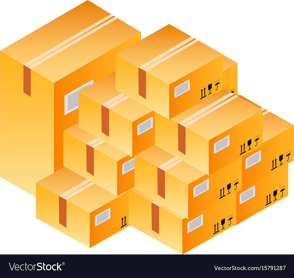 Set of post boxes in isometry vector image