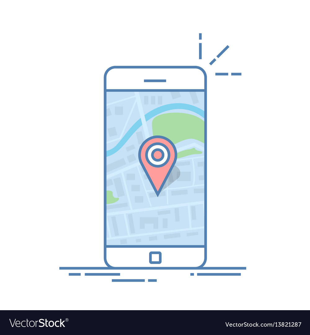 Smartphone with navigation app and red pin