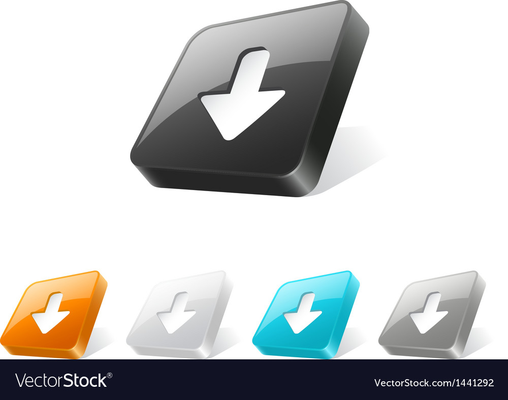 3d web button with download icon