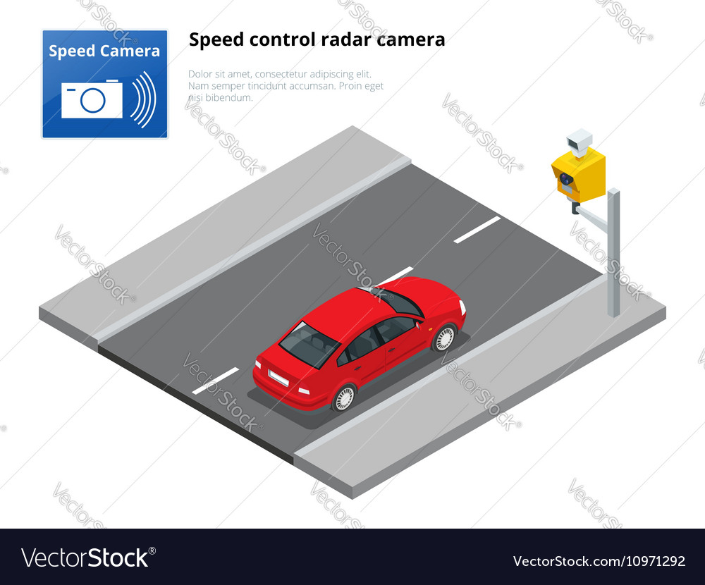 A speed control radar camera isolated on white