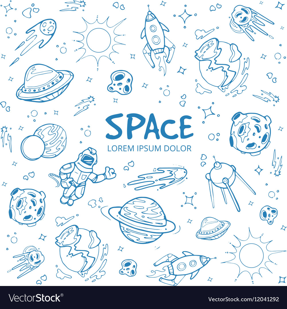 Abstract space background with planets stars vector image