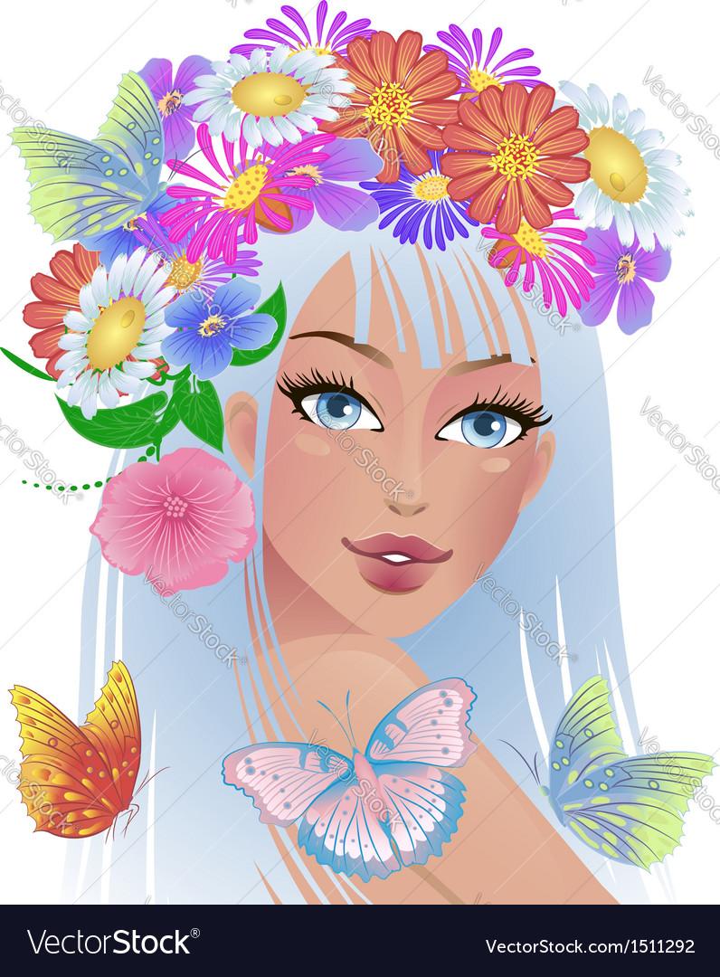 Beautiful girl with flowers on her head royalty free vector beautiful girl with flowers on her head vector image izmirmasajfo