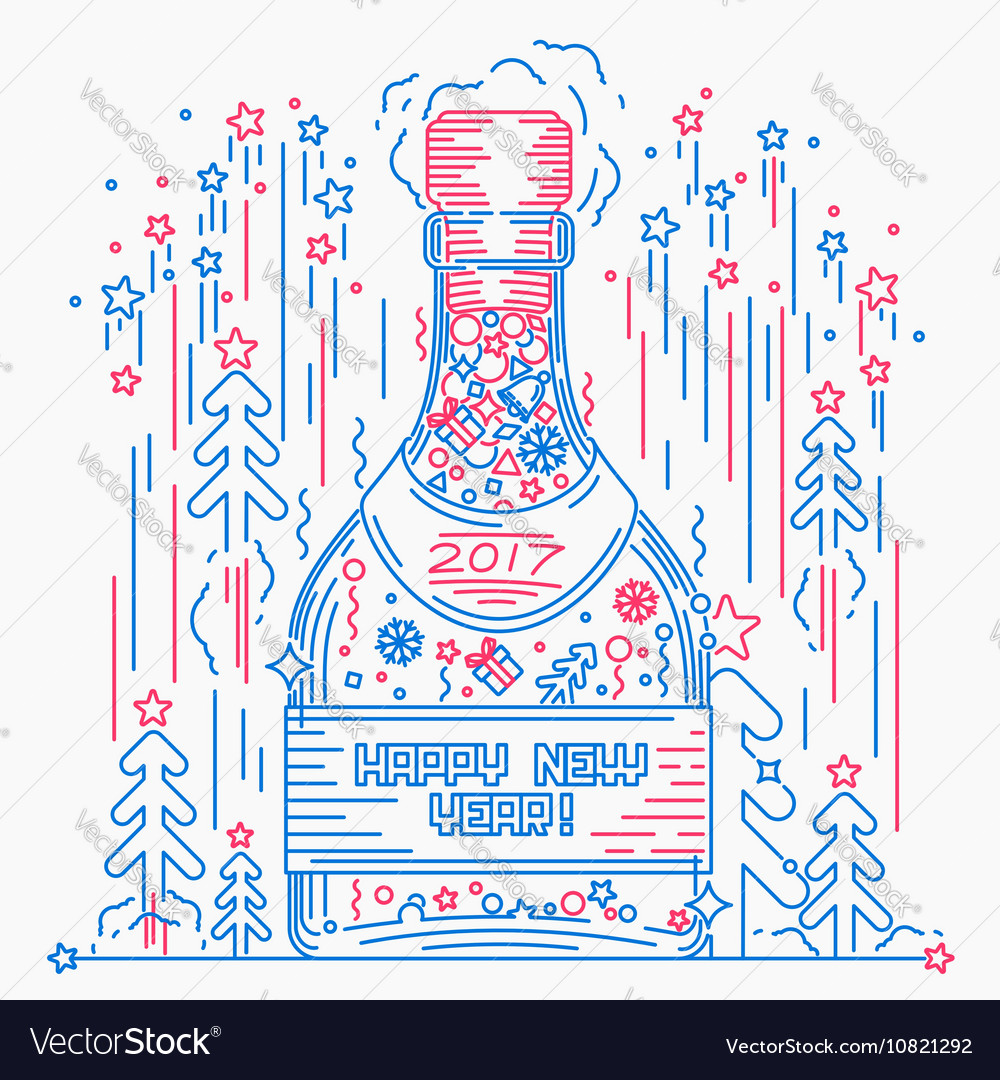 bottle of champagne hapy new year line art style vector image