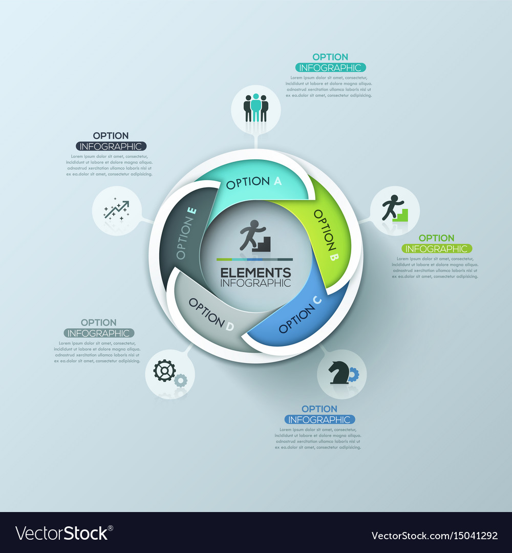 creative round infographic design layout with 5 vector image