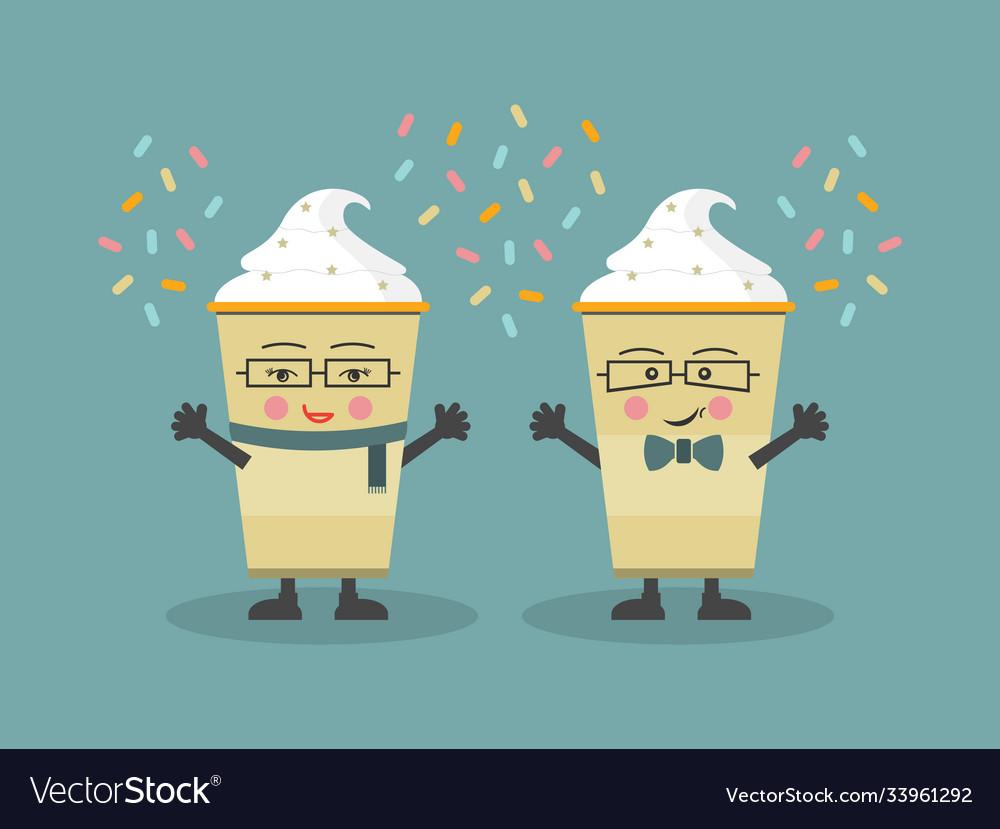 Cute cartoon winter and holiday coffee couple
