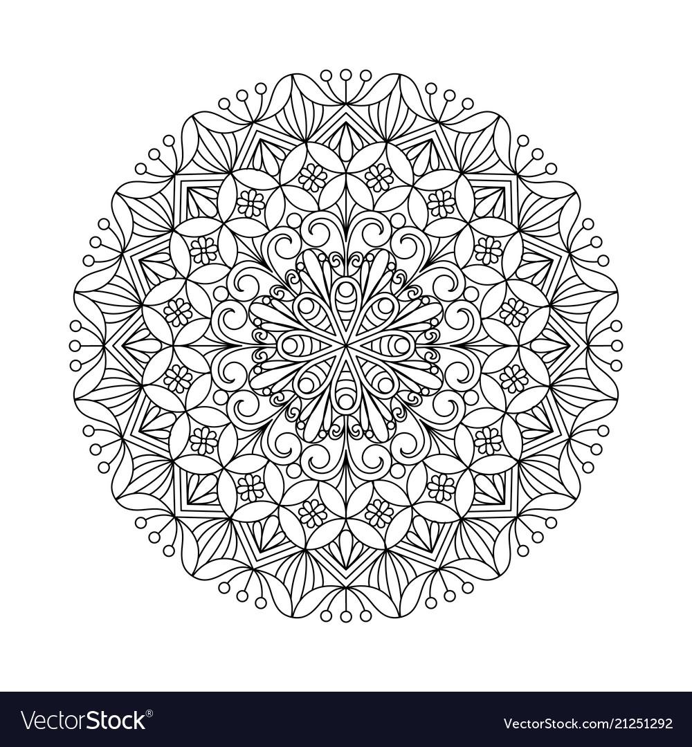 Flower mandala oriental ethnic circular ornament